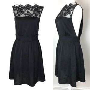 Free People Black Satin Lace Open Side Apron Dress